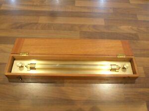 "Vintage 18"" Heavy Brass Rolling Rule in fitted Case"
