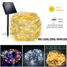 LED Solar Battery String Lights Copper Wire Fairy Outdoor Garden Party Christmas