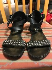 Steve Madden Studded Sandals Black Leather with Silver Studs Size 7.5 Adorable
