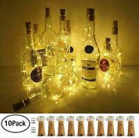 10X 20 LED Flaschenlicht Weinflasche Kork Lichterkette Nachlicht Party Light DE