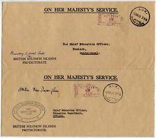 BSIP SOLOMON ISLANDS AUKI SCHOOLS OHMS OFFICIAL CROWN POST PAID 2 ENVELOPES 1963