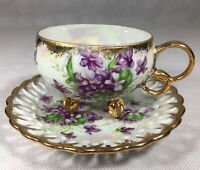 Royal Sealy China Tea Cup Saucer Set Purple Flowers Gold Rings 3 Footed Japan