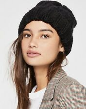 0f2844eae0d6a NWT Free People black Cable Knit Cuffed Oversized Beanie Hat O S