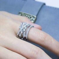 Infinity Woman 925 Silber Ring Weiß Saphir Schmuck Hochzeit 6-12 Ringe Größ R0O0