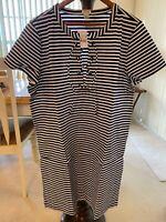 NWT J.Crew NAUTICAL Navy White Striped Lace-up Neckline Shift Dress XXL $80 NWT