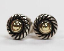 David Yurman 14k & Sterling Silver Cookie Stud Earrings w/ Gold Center
