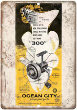 "Ocean City Fishing Reel 300 1956 Tackle Ad - 10'"" x 7"" Reproduction Metal Sign"