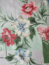 Vtg Green Pink Blue Floral Drapes Curtains Fiberglass 40x59 mid century 3 panels