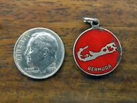 Vintage sterling silver BERMUDA ENAMEL ISLAND CREST charm