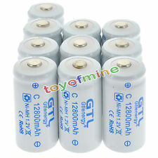 10x C size 1.2V 12800mAh Ni-MH White Color Rechargeable Battery