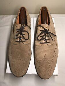 PETER MILLAR MF14F06 Suede Leather Wingtip Shoes Crepe Soles Men's Sz 11 M $245+