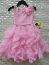 Biscotti girls dress pink ruffled 3d floral design sz 5 NWT