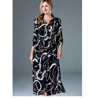 Viscose Designer Chain Print ,Gold Buttons Midi length Shirt Dress with Pockets