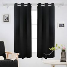 "Thermal Insulated Grommet Room Darkening Blackout Curtains 42x63"" Black 2 Pcs"