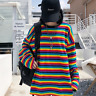 Fashion Women Rainbow Striped Cotton T-shirt Loose Harajuku Top Long Sleeve new