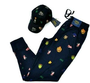 NWT POLO RALPH LAUREN Lounge Jogger Pants Men's Cruise Navy College Graphic  M