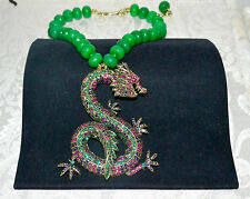 New $350 HEIDI DAUS Sublime Serpent Massive Crystal Pendant Necklace Green Onyx