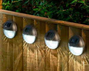NEW 6x Round LED Solar Powered Garden Wall Lights Fence Shed Door Security Light