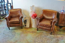 "Set of two 34"" W Francois club armchair vintage cigar brown leather spectacular"