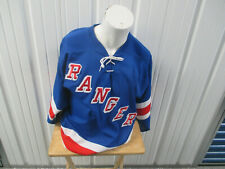 VINTAGE CCM NHL NEW YORK RANGERS HOCKEY SMALL BLUE SEWN JERSEY 90s 00s PREOWNED