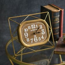 Gold Metal Desk Clock with Wood Face