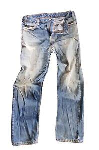 VTG Men's Levis 509 Orange Tab Destroyed Straight Leg Faded Wash Jeans USA 38x30