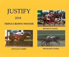 JUSTIFY 2018 COLLAGE TRIPLE CROWN WINNER DERBY PREAKNESS BELMONT 8x10 PHOTO