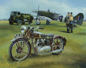 Triumph Speed Twin Hawker Tempest Aircraft Motorbike Motorcycle Birthday Card