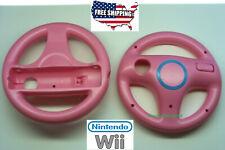 2pcs Pink Mario Kart Racing Steering Wheel Nintendo Wii Remote Game Controller