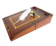 ANTIQUE VINTAGE CAMPAIGN WRITING SLOPE BOX CABINET LAP DESK w Ink Bottle