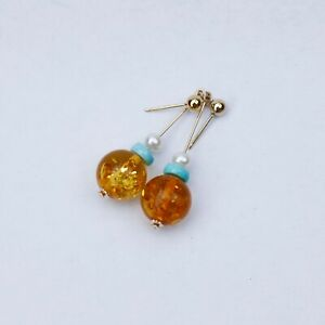 Natural Vintage Baltic amber natural Turquoise w/pearl Nice earring 39.5mm AD35