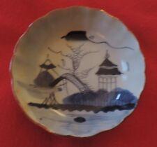 Antique Japanese Porcelain Bowl Blue and White Harbor Pagoda Landscape 19th c.