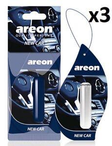 3 x Areon Liquid 5ml. New Car Scent  Aroma Perfume Tree Air Freshener Fragrance