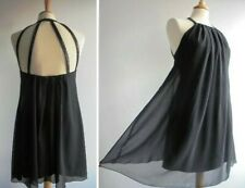LIPSY Black Chiffon Mini Dress Sequined Straps Size 8 FREE UK POSTAGE