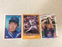 Lot of Three 1988 Chicago Cubs Les Lancaster Autographed Baseball Cards