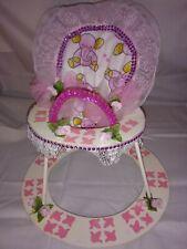"Handcrafted Wooden Baby Doll ""Walker"" Pink Elephant Design"