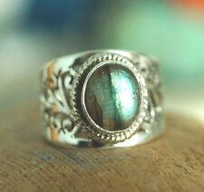 Bandring Filigran Silberring Labradorit Handarbeit Silber Ring 58 Grün Schimmer