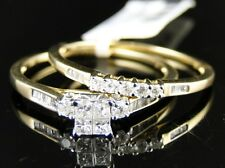 10K Ladies Yellow Gold Princess Cut Diamond Bridal Wedding Engagement Ring Set