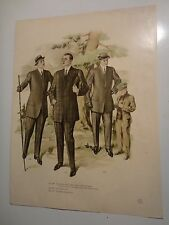 Vintage Color Mens Clothing Art Lithograph #208-210 /Fall & Winter 1911 & 1912