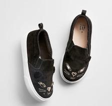 Baby Gap Girl's Fall '18 Black Cat Face Slip On Sneaker Shoes Sz 10 Toddler NWT
