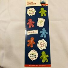 """New listing 10 Pack Holiday Drink Markers Gingerbread Men Party """"holi-bae"""" """"Ho Ho"""" reuseable"""