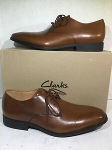 Clarks Gilman Walk Dark Tan Leather Oxfords Shoes Men's Size 10.5 EU 44 ZB-189