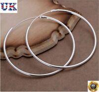 925 Sterling Silver Hoop Earrings Large Hooped Sleeper 50mm 5cm + Free Gift Bag