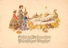 Christmas Greetings Baby Girls Bunny Rabbits Antique Postcard J42851