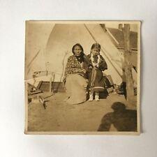 Old Photo Native American Indian Grandmother Daughter Mokie Cheyenne 1912 Okla.