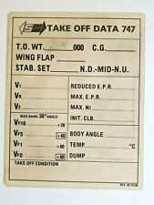 RARE VINTAGE SEABOARD WORLD AIRLINES SWA B-747 TAKEOFF AND LANDING DATA CARD '80