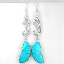 925 Sterling Silver 100% Pure Sea Horse Turquoise Earrings Pair Girls Jewelry $