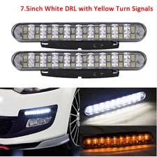 2x 12V White Daytime Running Light DRL Amber Yellow Turn Signals Light Fog Lamp