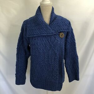 Quills Woollen Cardigan Sweater M Blue Fisherman Irish Wool