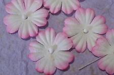 100 x 27mm PINK WHITE FLOWERS MPFF18PW:: Scrapbook Christmas Card embellishments